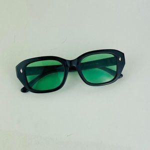 awesome square black frame green lens sunglasses